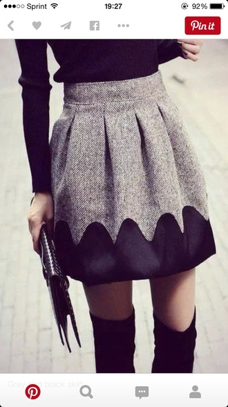 skirt grey and black skirt grey skirt pleated skirt winter outfits