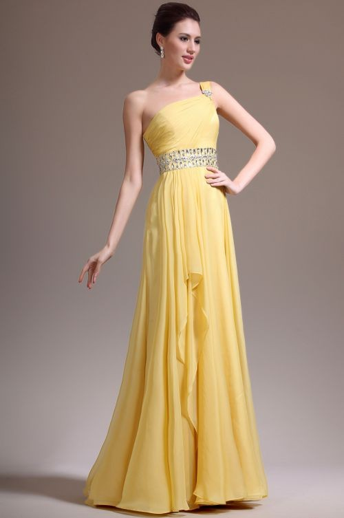 Line One Shoulder Floor Length Chiffon Yellow Evening Dress With ...