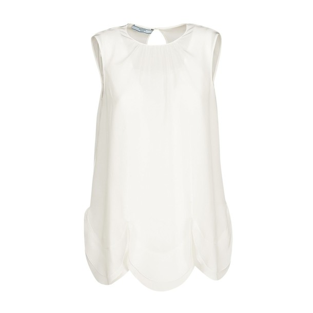 blouse sleeveless scalloped white top