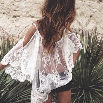 dress white dress lace dress boho dress hippie sheer dress