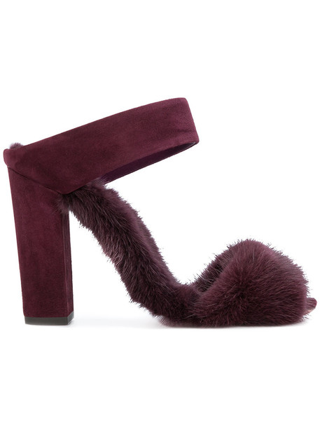 Aquazzura fur fox women sandals leather suede purple pink shoes