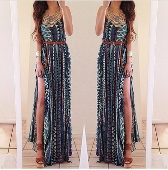 long dress summer dress summer style tribal pattern tribal print dress belted dress belted maxi dress maxi dress jewels