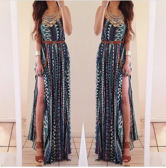 tribal pattern maxi dress summer dress long dress summer style tribal print dress help me to find belted dress belted maxi dress jewels