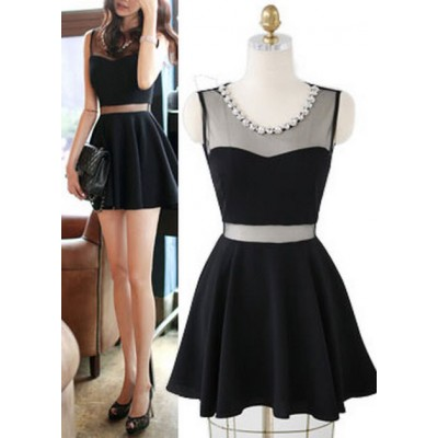 Buy Fashion Clothing -  Black Sleeveless Mesh Diamond Neck Women's Short Dress  - Dresses