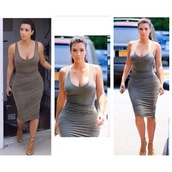 skin tight,khaki,kim kardashian,bodycon,vest dress