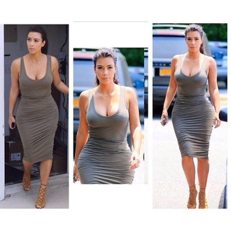 skin tight khaki kim kardashian bodycon dress vest dress