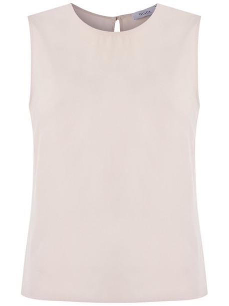 isolda blouse sleeveless women nude silk top