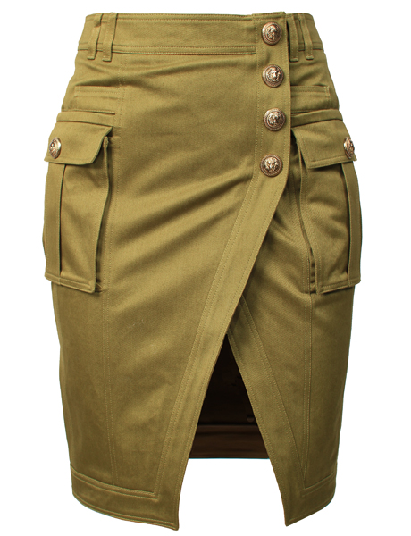 Balmain Kaki Button Skirt from MRS H | HANDPICKED DESIGNER FASHION, SKIN CARE & PERFUME