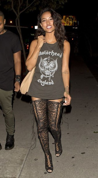 shoes sandals booties karrueche sexy party top lace up lace-up shoes heels t-shirt knee high boots