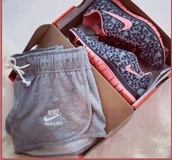 nike,nike shoes,nike sneakers,grey shorts,shorts,pink sneakers,animal print,low top sneakers,sports shorts