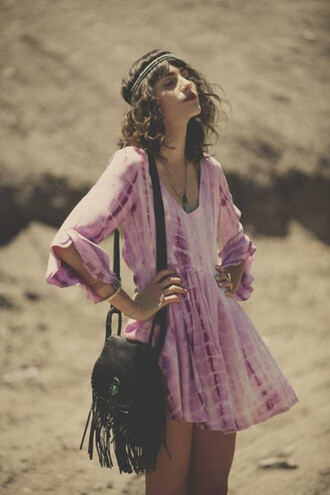 dress pink hipster beach fringe hipsta vintage tumblr tie dye tie dye dress fringed bag