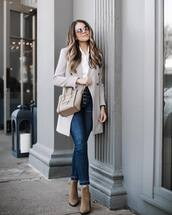 jeans,skinny jeans,high waisted jeans,ankle boots,suede boots,coat,checkered,shoulder bag,round sunglasses,white shirt,earrings