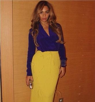 skirt blue blouse blue shirt beyonce yellow