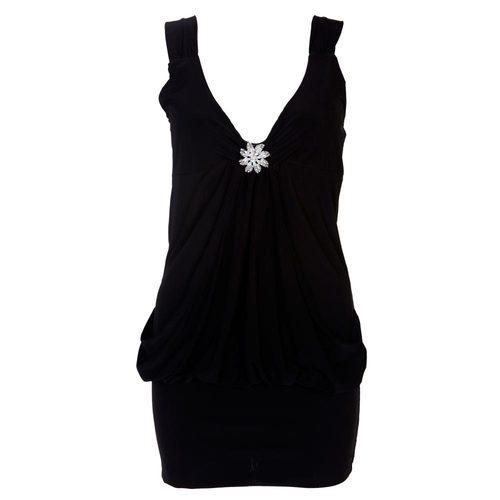 LADIES MINI DRAPE BROACH DRESS WOMENS PARTY CLUB DRESS TOP SIZE 8-20 | Amazing Shoes UK