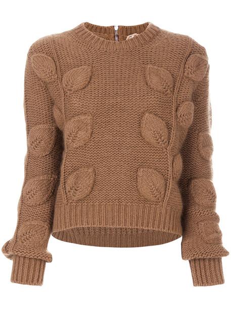 No21 - round neck cropped sweater - women - Wool/Mercerized Wool/Polyimide - 40, Brown, Wool/Mercerized Wool/Polyimide