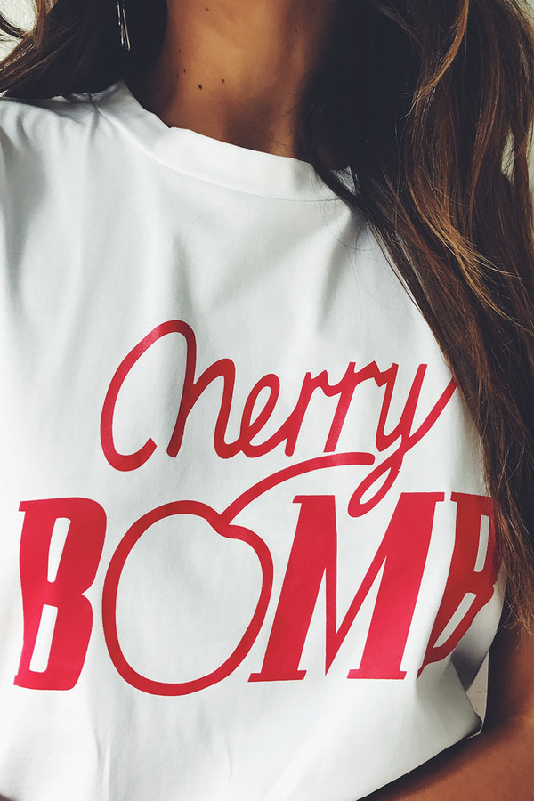 t-shirt verge girl cherry bomb white top white t-shirt cherry graphic shirt trendy summer outfits fall outfits