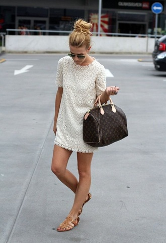 dress lace dress white dress long sleeve dress boho dress bodycon dress blonde hair louis vuitton bags classy