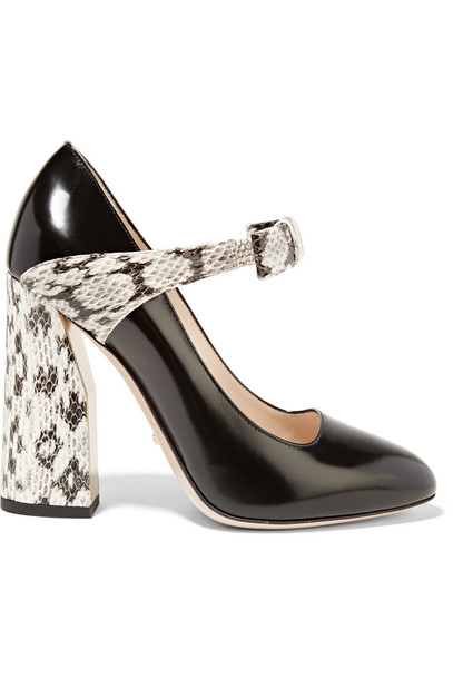 b1f42436620 Gucci Bow-Embellished Elaphe and Leather Pumps in black   print ...