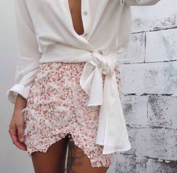 white shirt skirt pink white pearls glitter sequin tan tattoo cut out