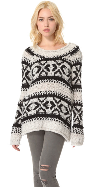 Free People Silver Reed Pullover in White (multi) | Lyst