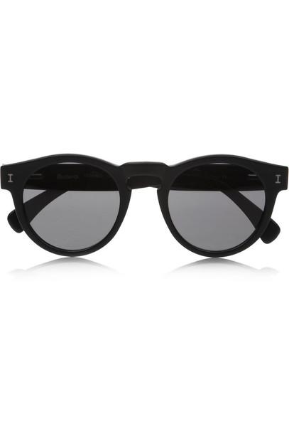Illesteva Leonard Round-Frame Acetate Sunglasses in black