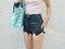 High waisted denim shorts half bleached