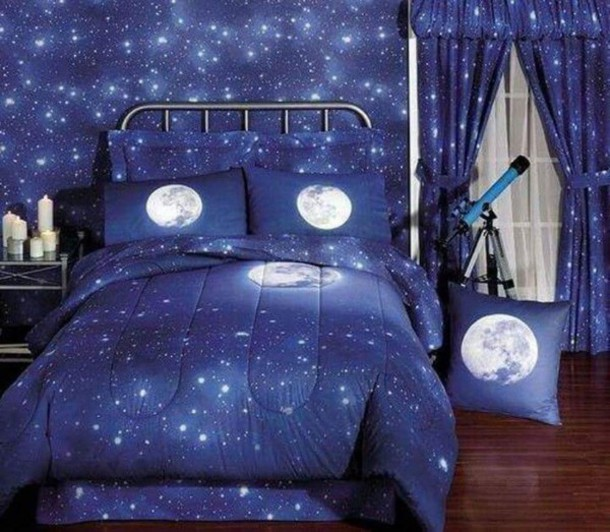 Home Accessory, Bedding, Moon, Stars, Blue, All Blue Everything, Bedroom    Wheretoget