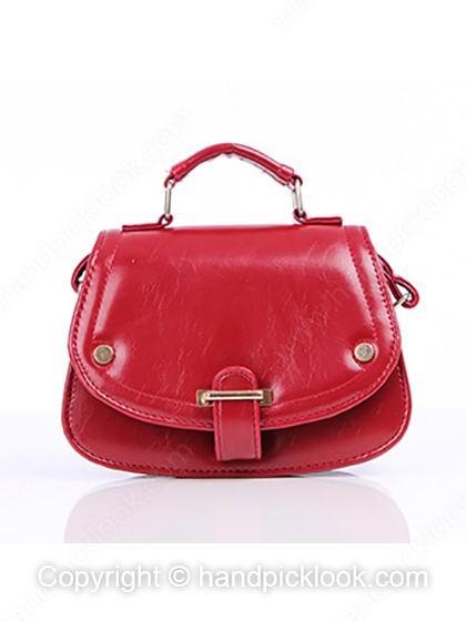 Red Studded PU Leather Shoulder Bag - HandpickLook.com