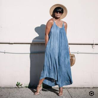 shoes hat tumblr sandals sandal heels high heel sandals dress maxi dress long dress blue dress summer dress sun hat