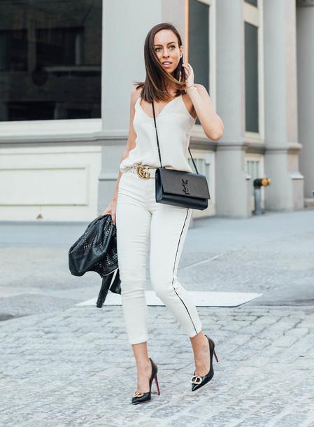 pants white pants topw white top shoes bag