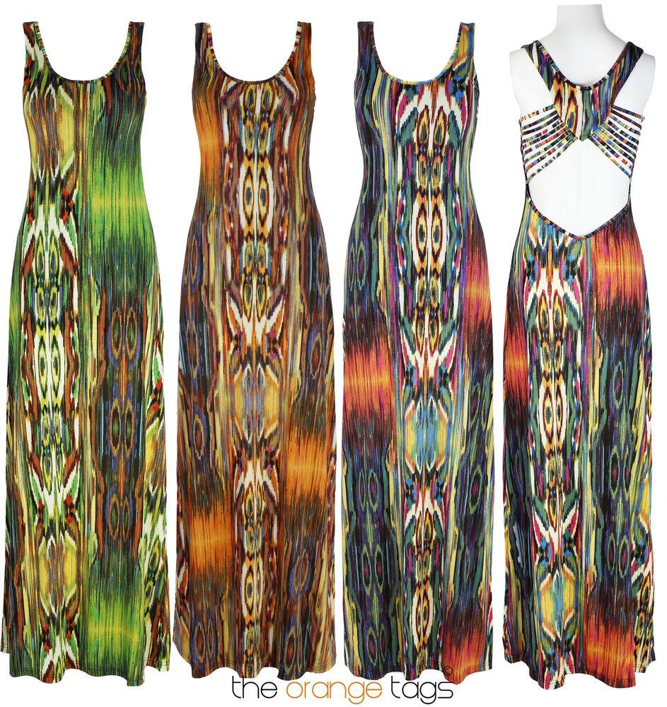 Womens Jersey Ladies Long Sleeveless Cut Out Open Back Summer Maxi