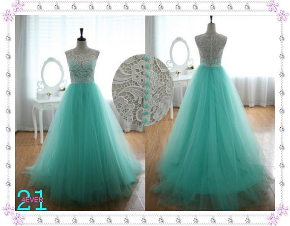 White lace evening dresses lace tulle bridesmaid/prom by 214ever