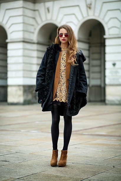 madame julietta blogger dress round sunglasses black coat gold crochet brown leather boots rust