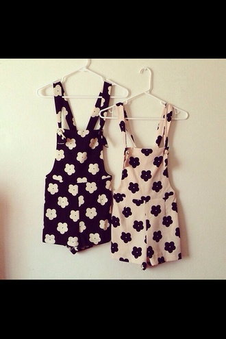 shorts overalls cute tumblr floral flowers pink black
