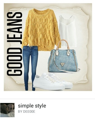 sweater oversized sweater yellow jumper jeans bag white shoes everyday wear