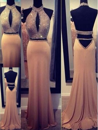 A-line Backless Chiffon Long Prom Dresses, Evening Dresses, Formal Dresses [B0045] - $232.00 : 24inshop