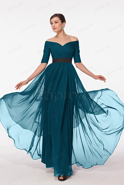dress, modest prom dresses, long prom dress, off the shoulder ...