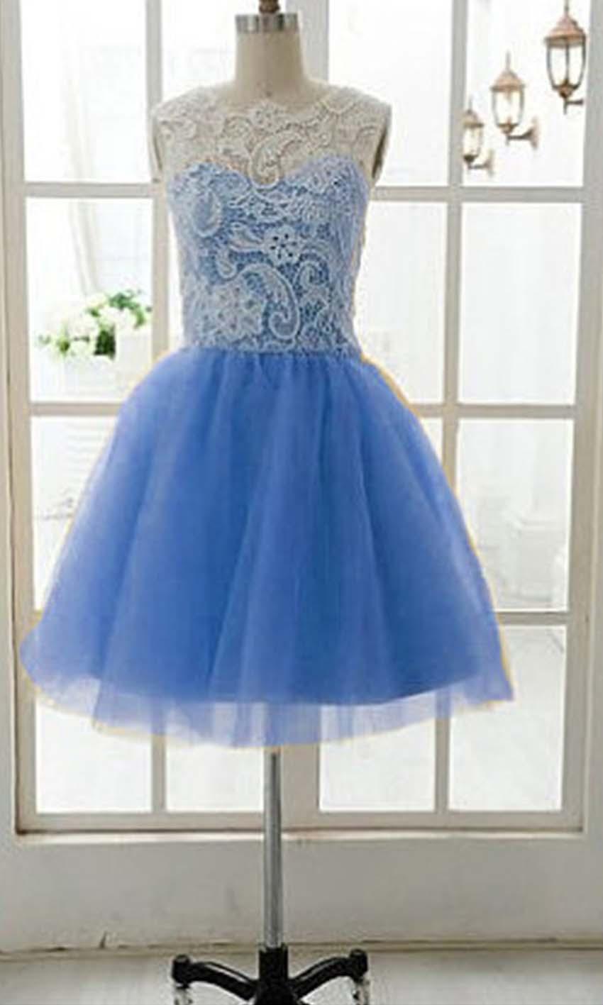 Cute White Lace Short Blue Grad Dresses KSP244 [KSP244] - £84.00 ...