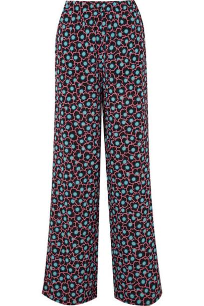 pants wide-leg pants black silk