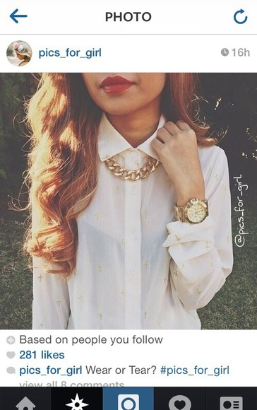 blouse white blouse white jewels gold crosses sheer blouse instagram