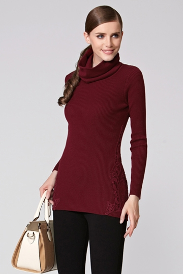 Removable Turtleneck Lace Stitching Sweater [FKBJ10372]- US$ 62.99 - PersunMall.com