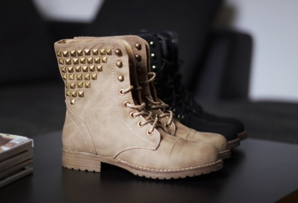 Shoes: boots, brown boots, black boots, studs, studded shoes ...
