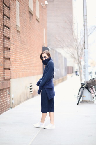 we wore what blogger shoes navy winter sweater turtleneck winter outfits