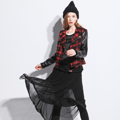 Autumn Plaid Montage Zipper Short Style Coat Red