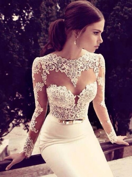 Hot elegant cute lace long dress