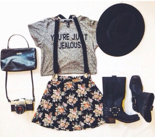 t-shirt skirt hat shoes shorts floral shorts w/ suspenders cute