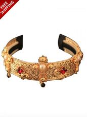 hair accessory,gold,detailed,headband,red,jewels