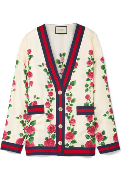 gucci cardigan cardigan floral print silk satin sweater