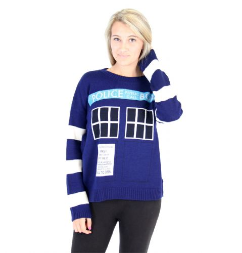 Doctor Whi TARDIS Police Box Women's Navy Knit Sweater - Doctor Who - | TV Store Online