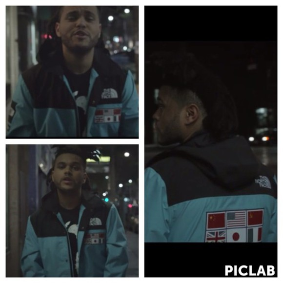 blue jacket theweeknd north face
